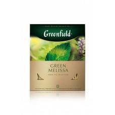 Чай зеленый в пакетиках для чашки Greenfield Green Melissa (Гринфилд Грин Мелисса), 100 * 1.5г